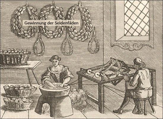 Kupferstich: Gewinnung der Seidenfäden - 1695