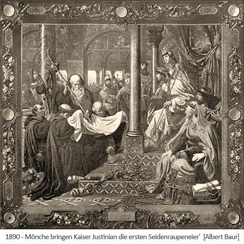 Kupfestich: Mönche bringen Kaiser Justinian die ersten Seidenraupeneier - 1890