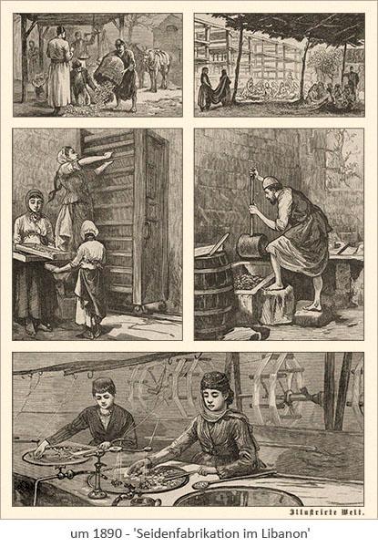 Kupferstich: Seidenfabrikation im Libanon ~1890