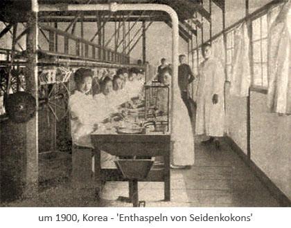 sw Foto: Frauen enthaspeln Kokons ~1900, Korea