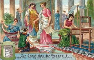 Sammelbild: griechische Teppichwirkerinnen - 1906