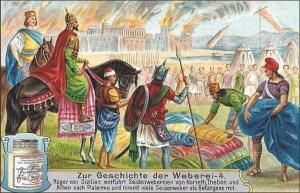 Sammelbild: Roger von Sizilien erbeutet Seidenwaren und -weber - 1906