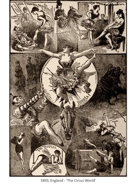 Zeichnung: Collage zeigt diverse Zirkuskünstler - 1893, GB