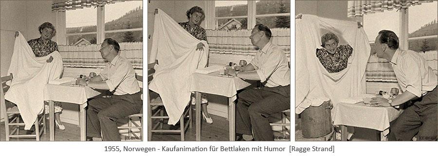 3 sw Fotos: Frau schaut durch großes Joch in Laken, um Mann von Neukauf zu überzeugen - 1955, NO