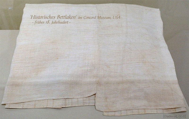 Farbfoto: von Lakenmacher gefertigtes Bettlaken aus dem frühen 18. Jh, USA