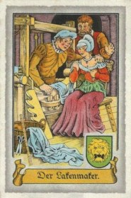 Sammelbild: Lakenmacher am Webstuhl preist Bürgerin seinen Lakenstoff an ~1575