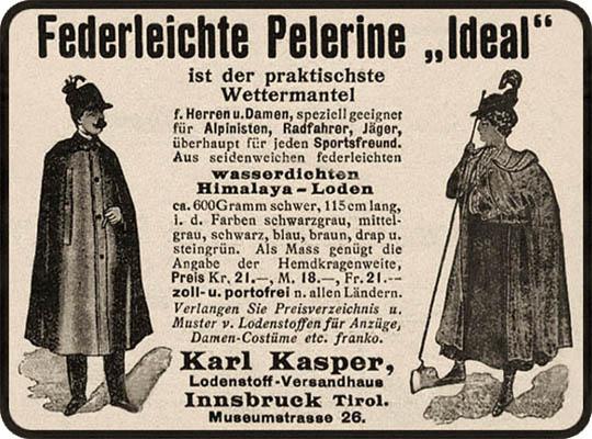 Annonce: Werbung für Wettermäntel aus Himalaya-Loden - 1912