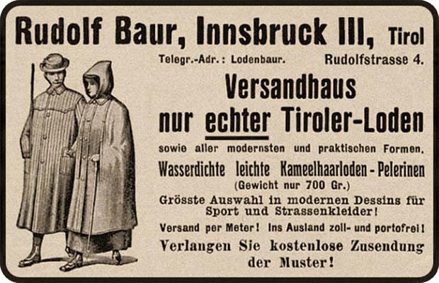 Annonce: Werbung für Pelerinen aus Tiroler-Loden - 1912