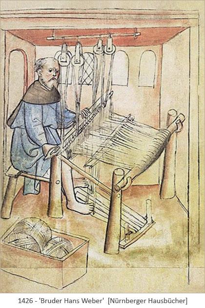 Buchmalerei: Bruder Hans am Webstuhl - 1426, Nürnberg