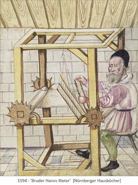 Buchmalerei: Bruder Hanns am Webstuhl - 1594, Nürnberg