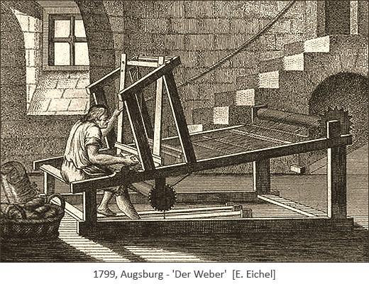 Kupferstich: Weber in einem Kellergewölbe arbeitend - 1779, Augsburg