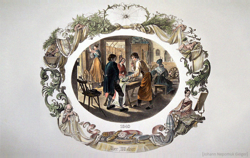 Farblitho: Paar kauft Stoff bei Weber in der Werkstatt - 1840, AT