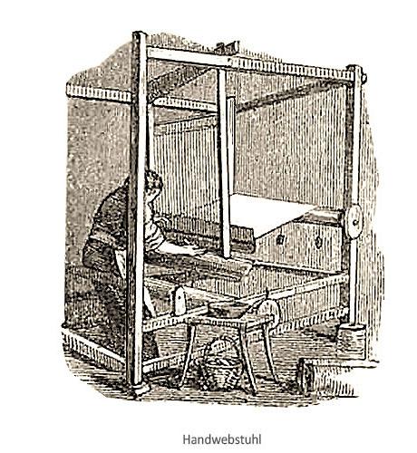 Kupferstich: Mann an Handwebstuhl arbeitend - 1853