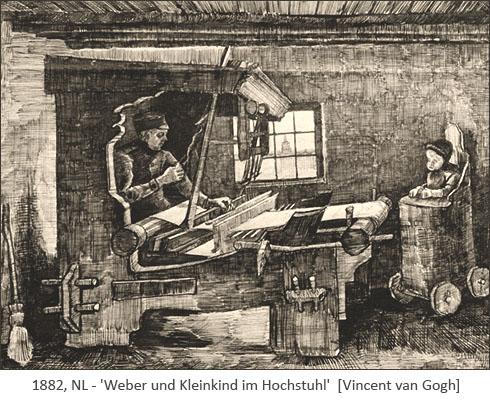 Federzeichnung: neben arbeitendem Weber ein Kleinkind im Hochstuhl - 1882, NL