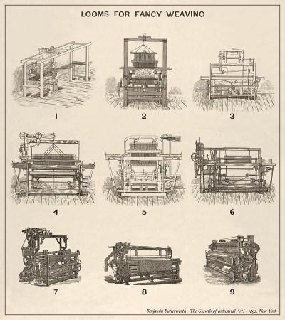 Litho: Entwicklung der Webstühle (Tafel 4) - 1892, USA