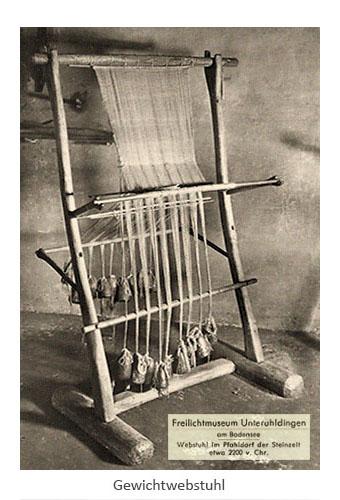 sw Postkarte: steinzeitlicher Gewichtwebstuhl ~2200 v. Chr.