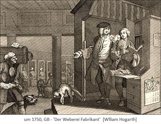 Kupferstich: Weberei Fabrikant erteilt seinen Untergebenen Anweisungen ~1750, GB