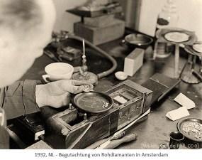 sw Foto: Begutachtung von Rohdiamanten in Amsterdam - 1932