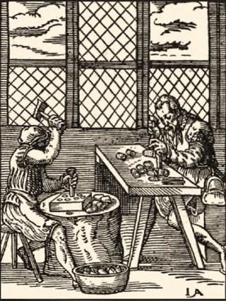 Holzschnitt: ein Fingerhuter stanzt die Formen, ein zweiter punsiert Dellchen in die Oberfläche- 1568