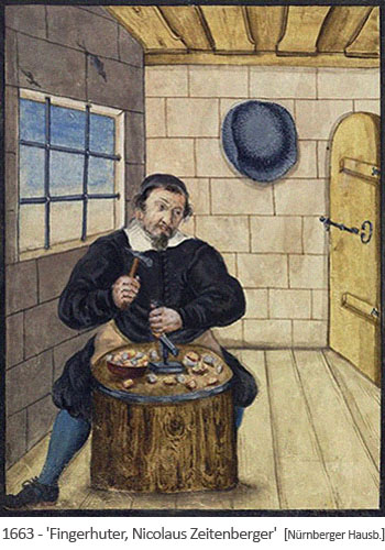 Buchmalerei: Fingerhuter, Bruder Nicolaus, bei der Arbeit - 1663