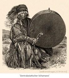 Kupferstich: knieender Schamane mit großer Trommel - Zentralasien