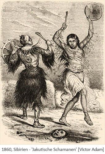 Zeichnung: 2 trommelnde Jakutische Schamanen bei rituellem Tanz - 1860, Sibirien