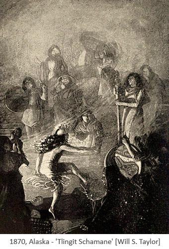 Zeichnung: Tlingit Schamene tanzt im Feuerschein - 1870, Alaska