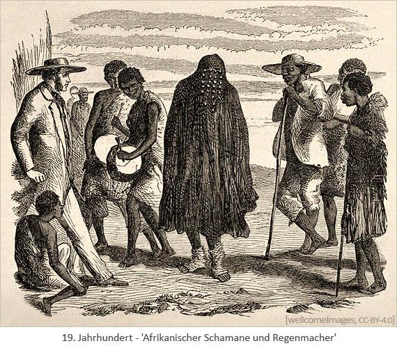 Federzeichnung: Afrikanischer Schamane und Regenmacher - 19.Jh