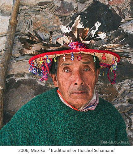 Farbfoto: Huichol Schamane - 2006, Mexiko