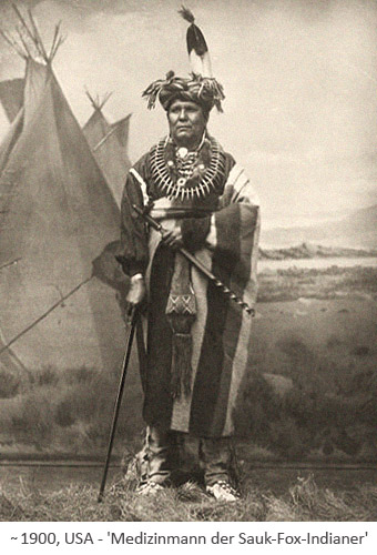 sw Foto: Medizinmann der Sauk-Fox-Indianer ~1900, USA