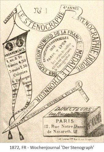 Titelblatt des französischen Wochenjournals 'Der Stenograph' - 1872