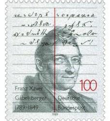 Briefmarke zum 200. Geburtstag von Franz Xaver Gabelsberger - 1989