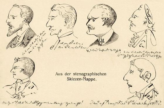 Postkarte: 6 mittels Stenozeichen gefertigte Portraits ~1900