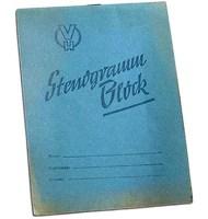 Farbfoto: alter Stenogramm Block ~1960, DDR