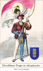 kolorierte Zeichnung: Ehrenfahnenträger der Bleistiftmacher Zunft - 1834