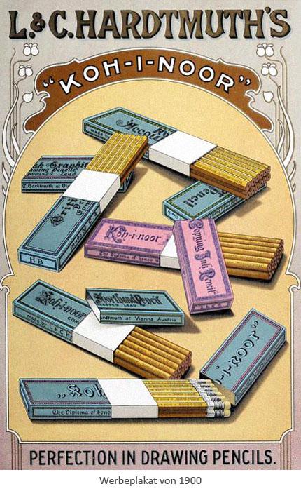 farbiges Werbeplakat: diverse Koh-i-noor Bleistifte und Schachteln - 1900, CZ