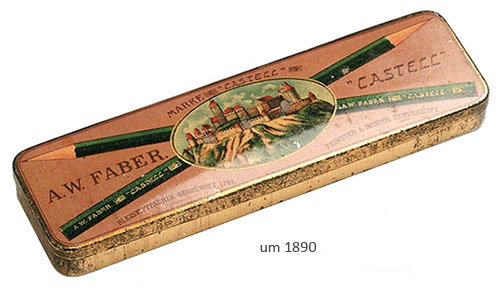 Farbfoto: Faber-Bleistiftbox aus Metall ~1890