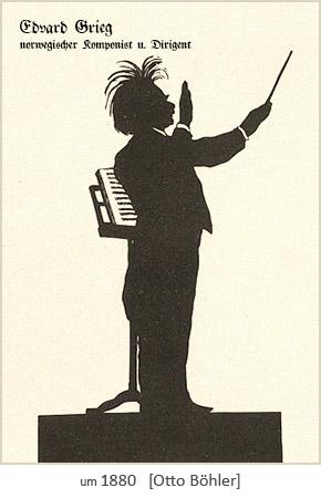 Silhouettenbild: Edvard Grieg, norweg. Komponist u. Dirigent ~1880