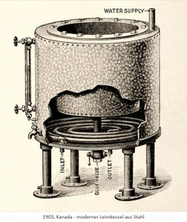 Litho: moderner Leimkessel aus Stahl - 1903, Kanada