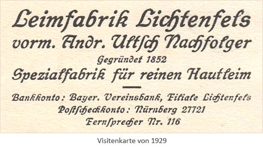 Visitenkarte: Leimfabrik Lichtenfels - 1929, Bayern