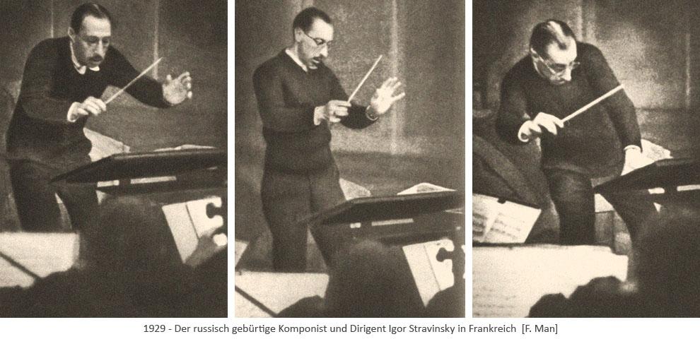 3 sw Fotos: Igor Stravinsky beim Dirigieren - 1929, FR