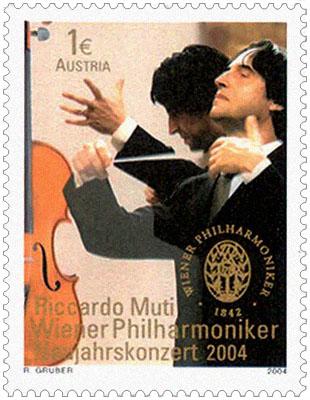 Briefmarke: Riccardo Muti beim Dirigieren - 2004, Österreich
