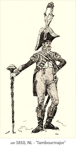 Zeichnung: Tambourmajor einer Marschkapelle ~1810, NL