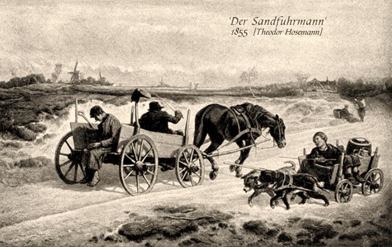 sw Gemäldefoto: Sandtransport per Pferdewagen, Hundekarre und Rückentrage - 1855
