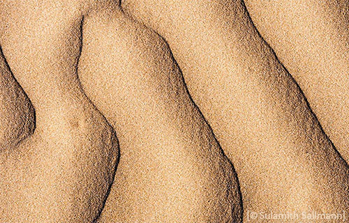 Farbfoto: Struktur im Sand, längs