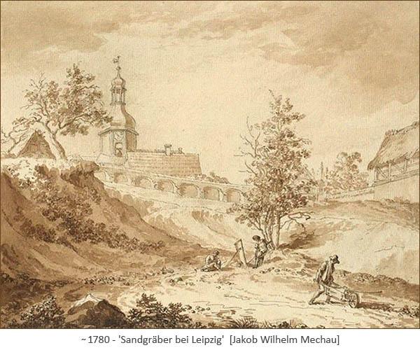lavierte Tuschezeichnung: Sandgräber bei Leipzig ~1780