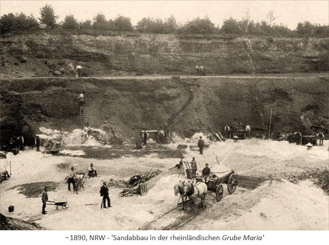 sw Foto: viele Männer beim Sandabbau in einer Grube ~1890, NRW