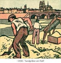 Farblitho: Sandgräber am Fluß ~1930
