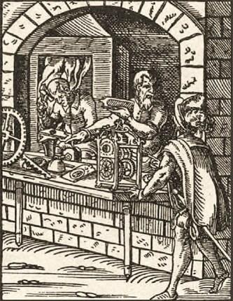 Holzschnitt: arbeitende Uhrmacher hinter zur Straße offenem Bogenfenster - 1568