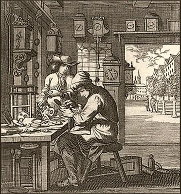 Kupferstich:: vornehmer Herr schaut Uhrmacher bei der Arbeit zu - 1698